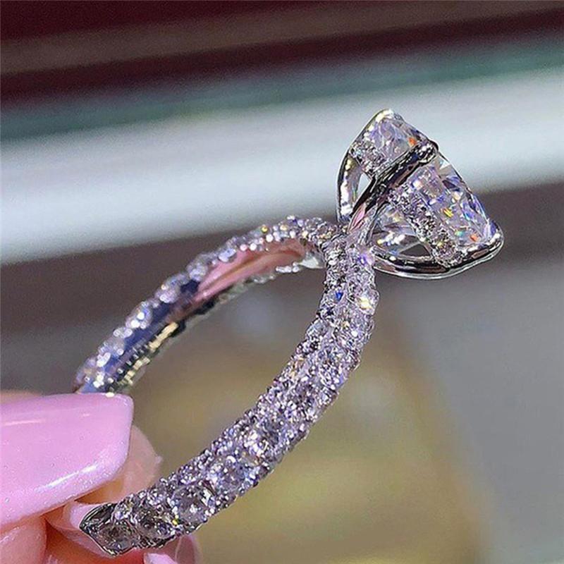 [해외]BOAKO Oval White CZ Crystals Wedding Rings for Women Micro Paved AAA Zircon Engagement Rings Female anel bague femme X7-M2/BOAKO Oval White CZ Cry