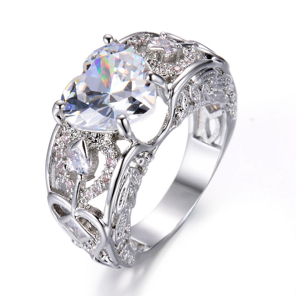 [해외]5 Colors Silver Angel Wings AAA Cubic Zirconia Love Heart Wedding Jewelry Rings for Women Birthstone Ring Gift/5 Colors Silver Angel Wings AAA Cub