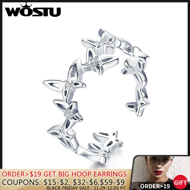 [해외]WOSTU Real 925 Sterling Silver Decorative Butterflies Rings Clear CZ Finger For Women Wedding Engagement Silver Jewelry CTR027/WOSTU Real 925 Ster