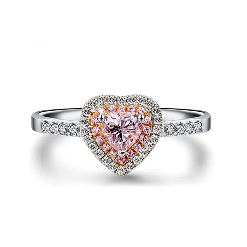 [해외]Pink Heart Shape AAA Zircon Stones Women Ring 925 Sterling Silver 2019 Wedding Party Engagement Rings Female Trendy Jewelry Gift/Pink Heart Shape