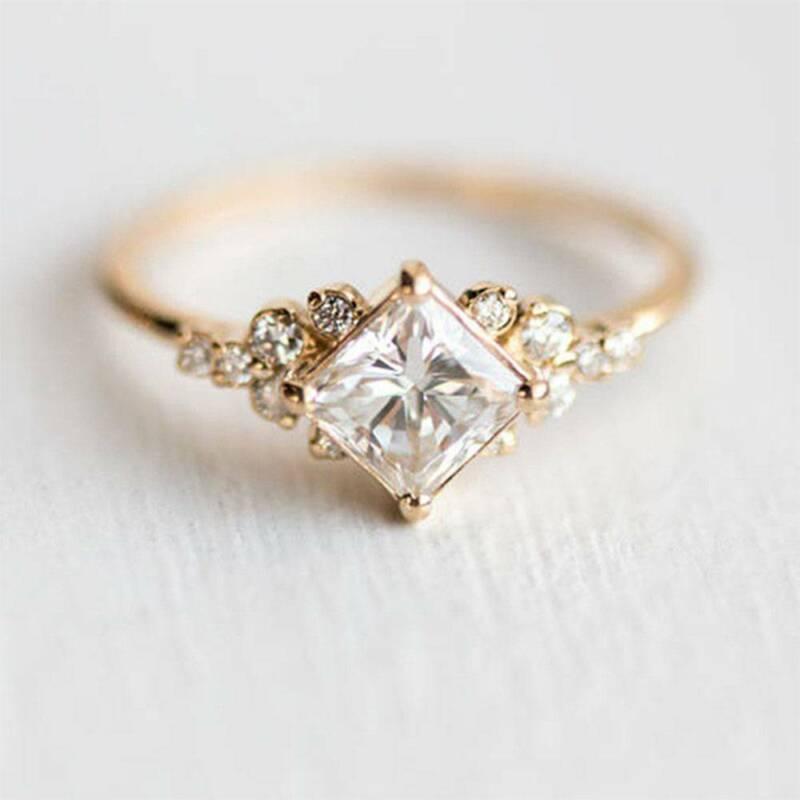 [해외]Las nuevas mujeres pequeno anillo de cristal de Color oro anillo delicado anillo-Anillo de aniversario gracia Popular de moda tamano 6-10/Las nuev