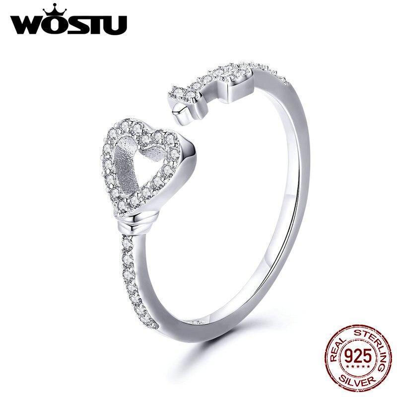[해외]WOSTU 100% 925 Sterling Silver Hearts of Love Ring Heartslock Rings Silver Enamel Finger For Women Wedding Lover Jewelry CQR502/WOSTU 100% 925 Ste