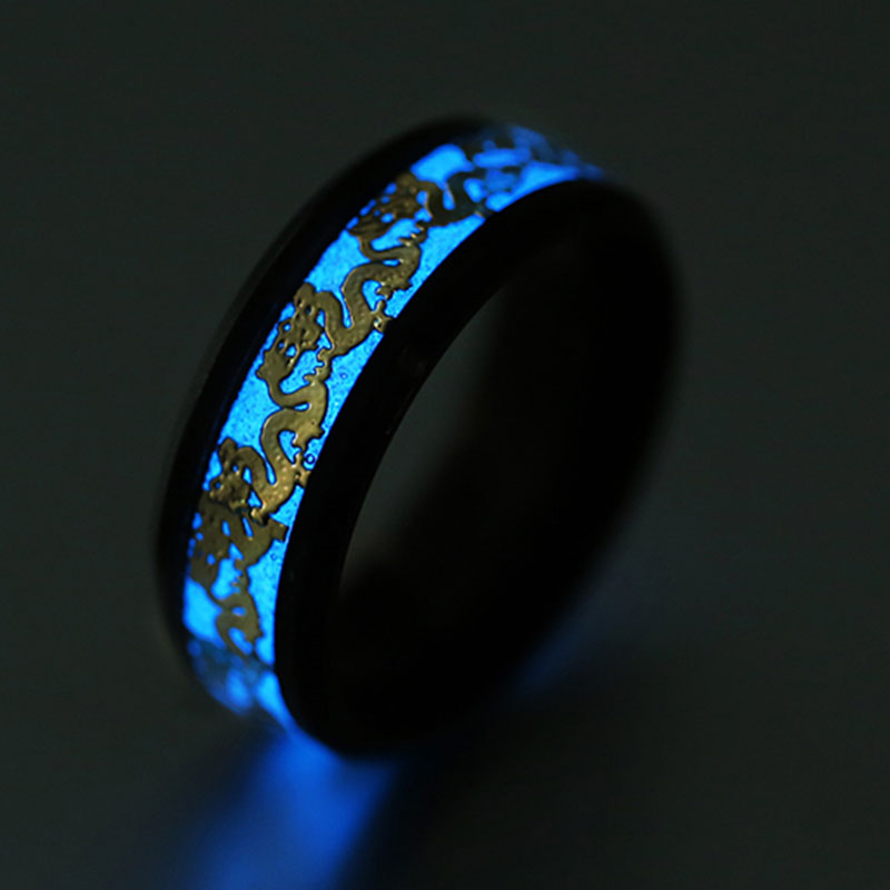 [해외]Luminous Silver Ring Dark Golden Dragon Inlay Green Blue Yellow   Men Fluorescent Glowing Rings jewelry Dropshipping/Luminous Silver Ring Dark Gol