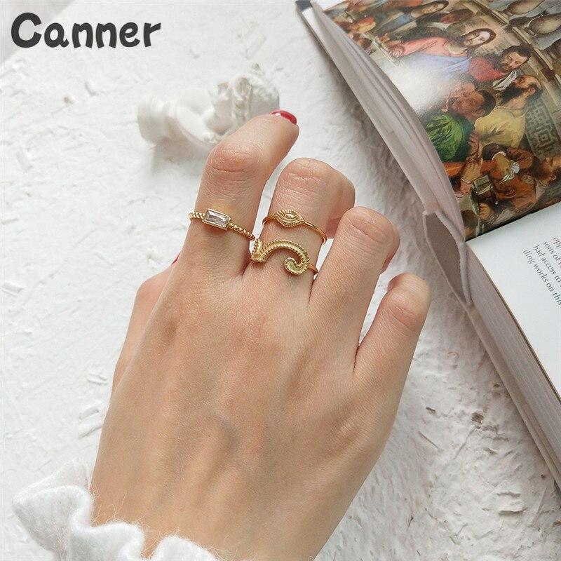 [해외]Canner 925 Sterling Silver Open Rings Gold CZ Crystal Long Square Rings Adjustable Wedding Band For Women/Canner 925 Sterling Silver Open Rings Go