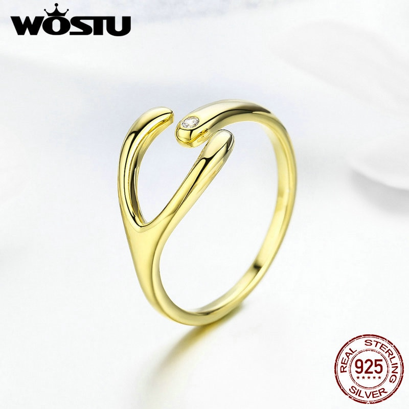 [해외]WOSTU Simple Design Gold Color Minimalist Rings 925 Sterling Silver Adjustable Size Ring For Women Fashion Jewelry Gift FNR031/WOSTU Simple Design