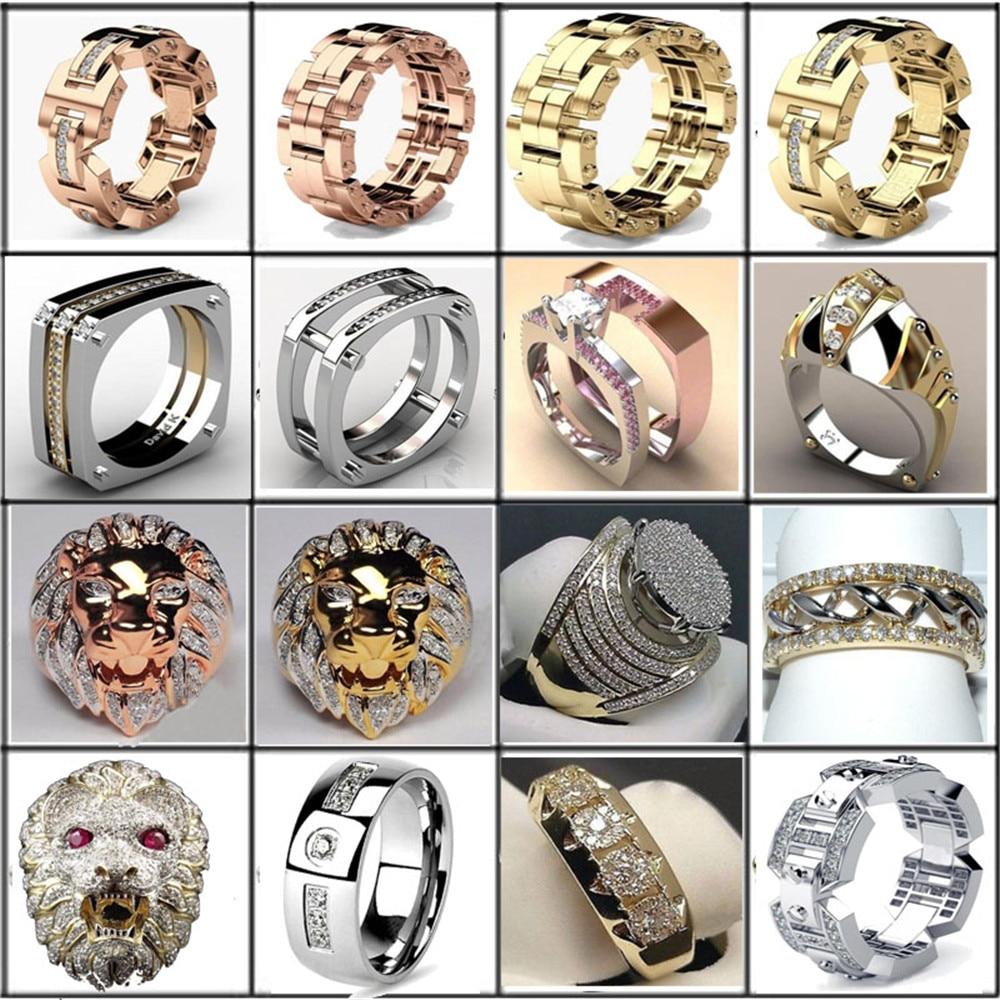 [해외]AAA Cubic Zirconia Ice Out Bling Big Wide Hip Hop Lion Head Rock Rings Gold Color Geometric Men Hiphop Rapper CZ Ring Jewelry/AAA Cubic Zirconia I
