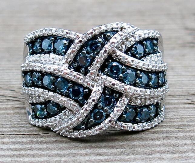 [해외]Big Rings Silver Blue Stones Wave Braided Crystals Cubic Zirconia Women`s Jewelry Gifts Wholesale Dropshipping Engagement Rings/Big Rings Silver B