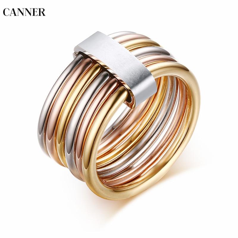[해외]Canner Fashion Mix Color Ring Quality Stainless SteelGold Rose Silver Plated Party Ring For Women Jewelry/Canner Fashion Mix Color Ring Quality St