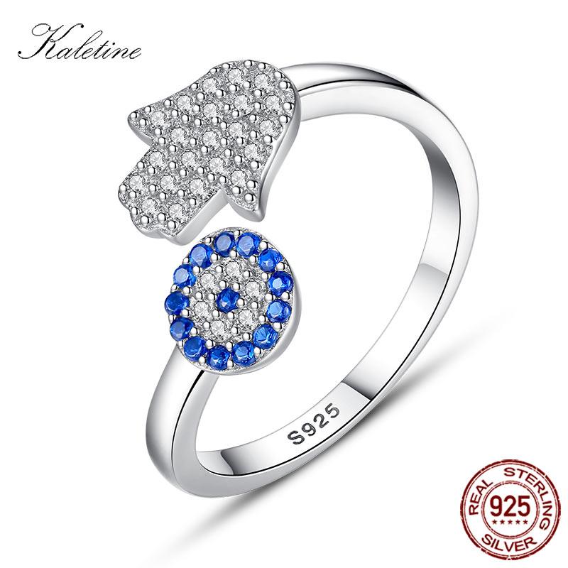 [해외]KALETINE Real 925 Sterling Silver Evil Eye Ring Blue Eye Hamsa Hand Fatima Hand Adjustable Female Ring Open Ring Wedding Jewelry/KALETINE Real 925