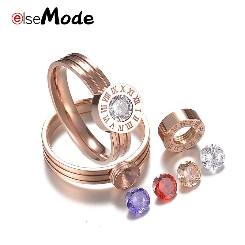 [해외]ELSEMODE  Roman Number CZ Stone Simple Wedding Rings 316L Titanium Steel Interchangeable For Women Girl Jewelry/ELSEMODE  Roman Number C