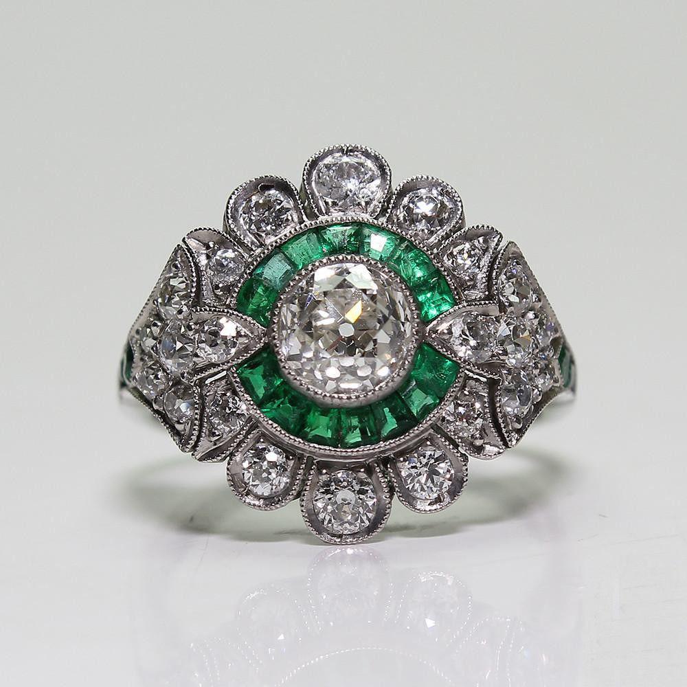 [해외]Bamos 귀여운 남성 여성 녹색 손가락 반지 럭셔리 큰 돌 반지 약속 약혼 반지 남성과 여성을위한 웨딩 밴드