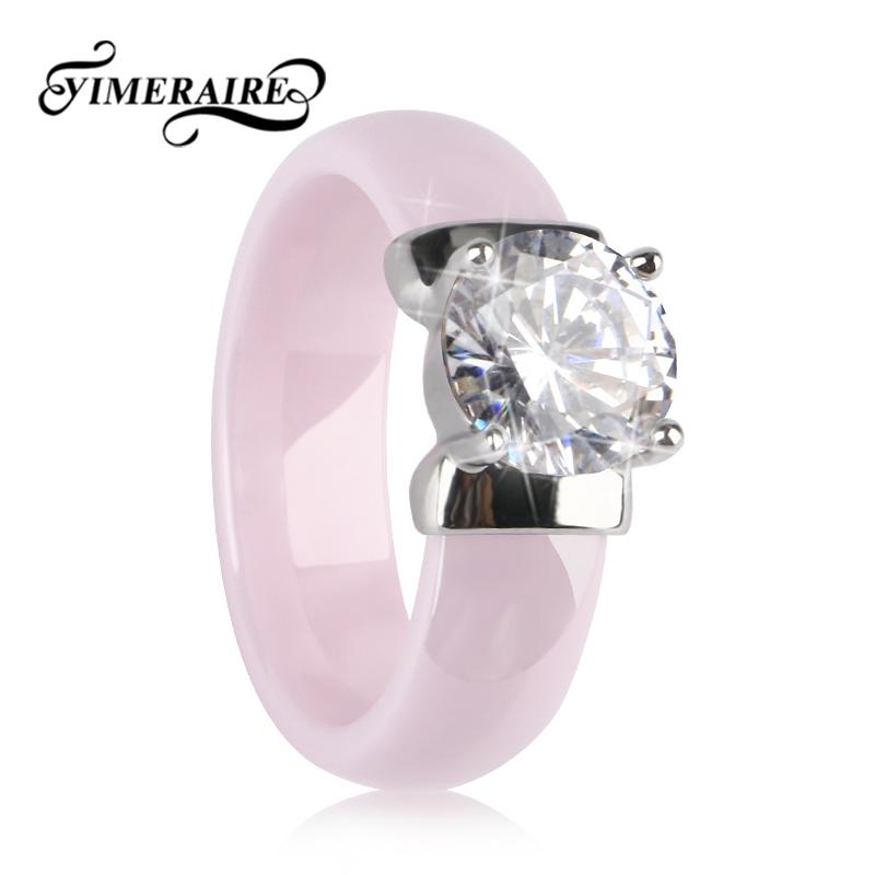[해외]TUHE New 6MM Light Pink Ceramic Ring For Woman With Big Shining Crystal Healthy Without Scratches Women Wedding Engagement Ring/TUHE New