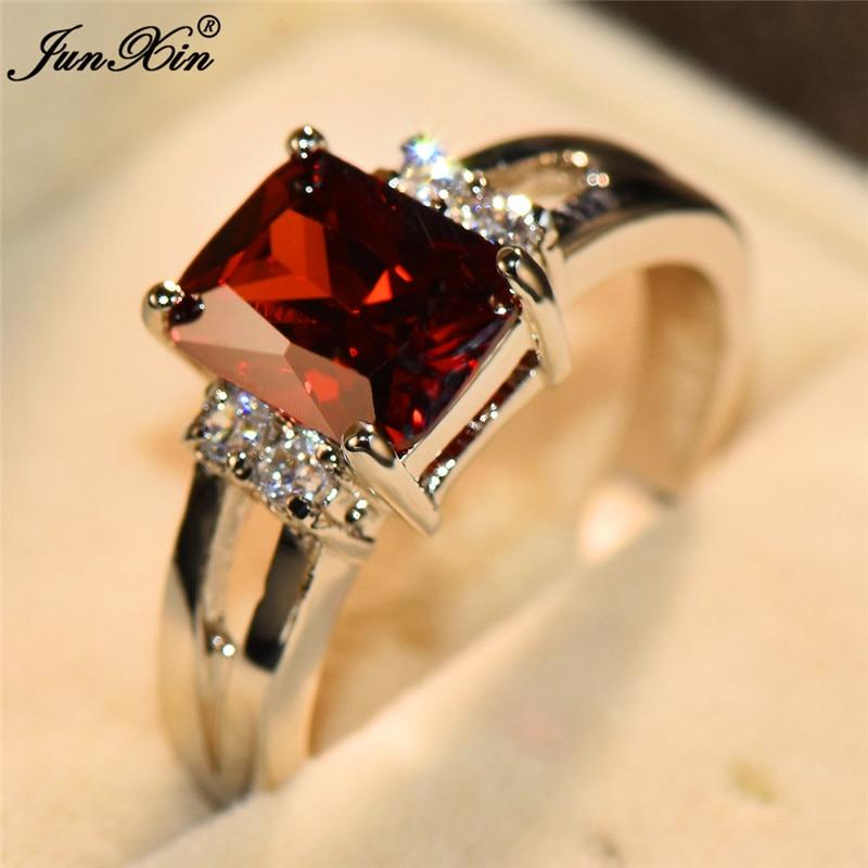 [해외]Cute Female Red Yellow Stone Ring Fashion 925 Sterling Silver Wedding Jewelry Crystal Promise Engagement Rings For Women/Cute Female Red