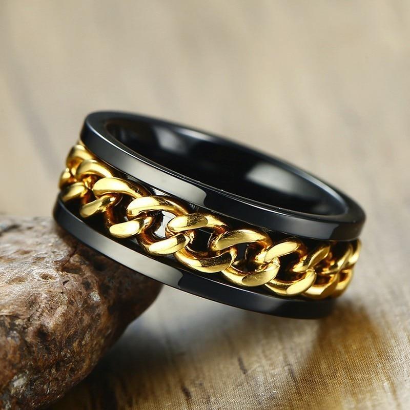 [해외]8mm Spinner Ring For Men Stainless Steel Cuba Chain Wedding Mens Anti Stress Jewelry/8mm Spinner Ring For Men Stainless Steel Cuba Chain