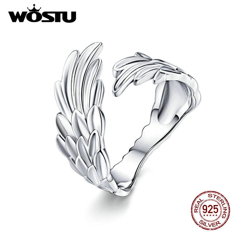 [해외]WOSTU 새로운 디자인 깃털 반지 여성을위한 925 스털링 실버 조절 가능한 크기의 반지 결혼 약혼 실버 925 쥬얼리 CQR512
