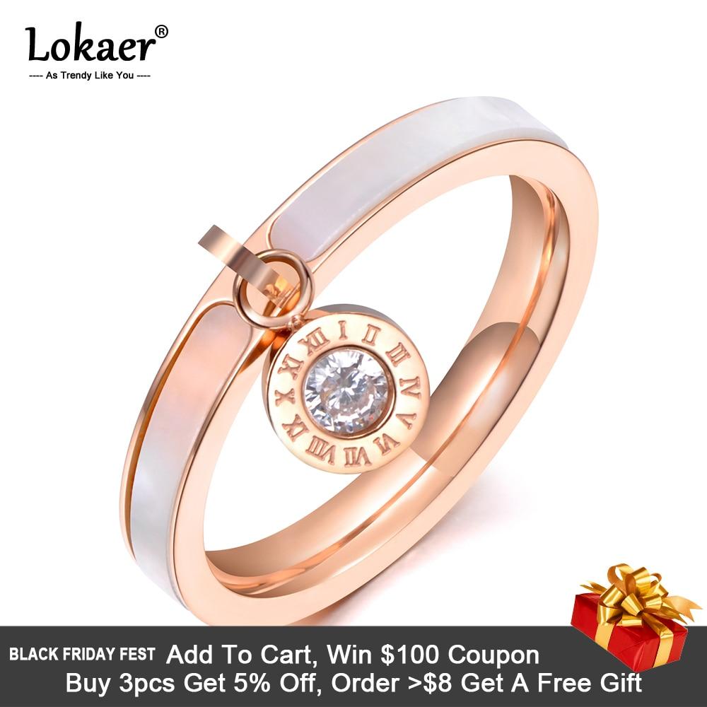 [해외]Lokaer Trendy Design Rose Gold CZ Crystal Rhinestone Titanium Steel White Shell Wedding Rings For Women Engagement Gifts R19064/Lokaer T