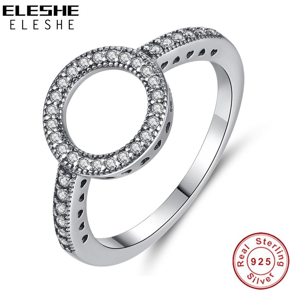 [해외]ELESHE Vintage 925 Sterling Silver Rings Forever Cubic Zirconia CZ Circle Round Finger Ring for Women Ladies Wedding Jewelry/ELESHE Vint
