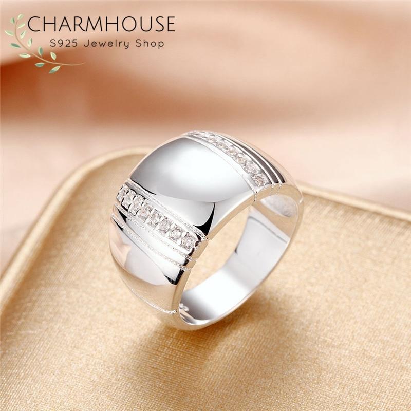 [해외]Pure 925 Silver Rings For Women Wedding Band Wide RingZirconia Bague Anillo Engagement Jewelry Accessories Size 7 8/Pure 925 Silver Ring