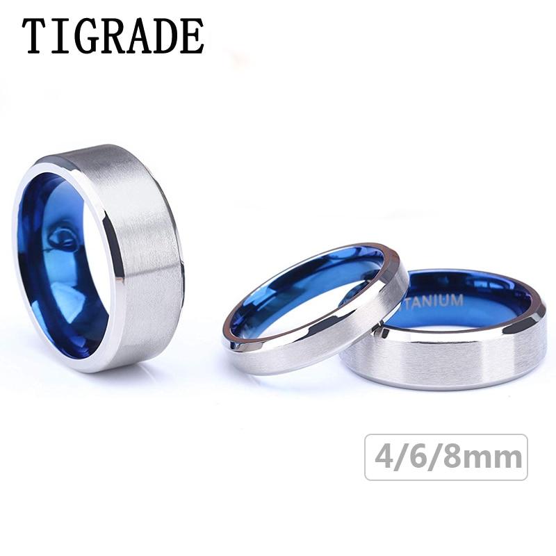 [해외]Tigrade 100% Pure Titanium Men Women Ring Silver Surface Blue Inside Classic 4/6mm Wedding Rings Engraving Provide Drop Shipping/Tigrade