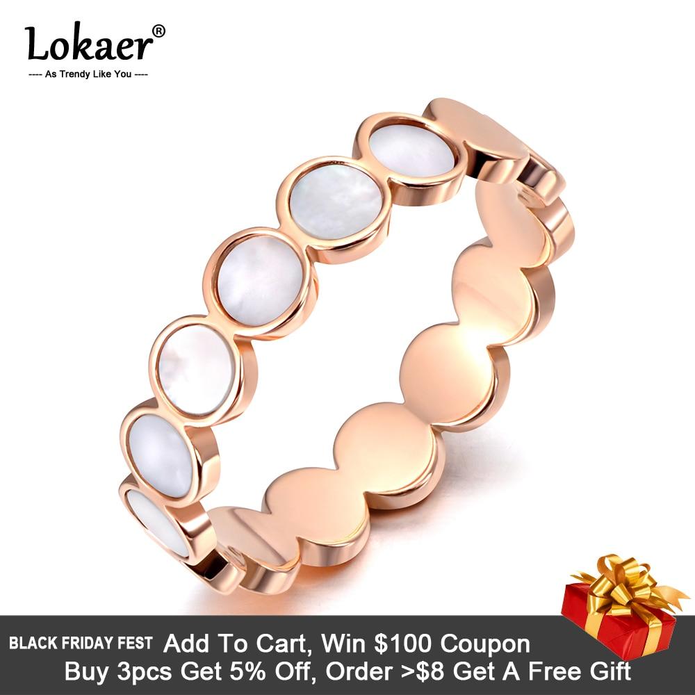 [해외]Lokaer Titanium Stainless Steel Fine Brand White Shell Rings Bridal Wedding Engagement Ring Jewelry For Women Girls R19113/Lokaer Titani