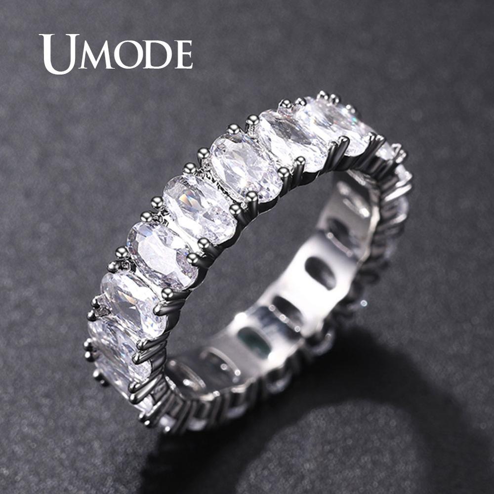 [해외]UMODE Silver Eternity Rings for Women Luxury Wedding Bands Cubic Zirconia Femme Girls Couples Gift Fashion Jewelry UR0580A/UMODE Silver