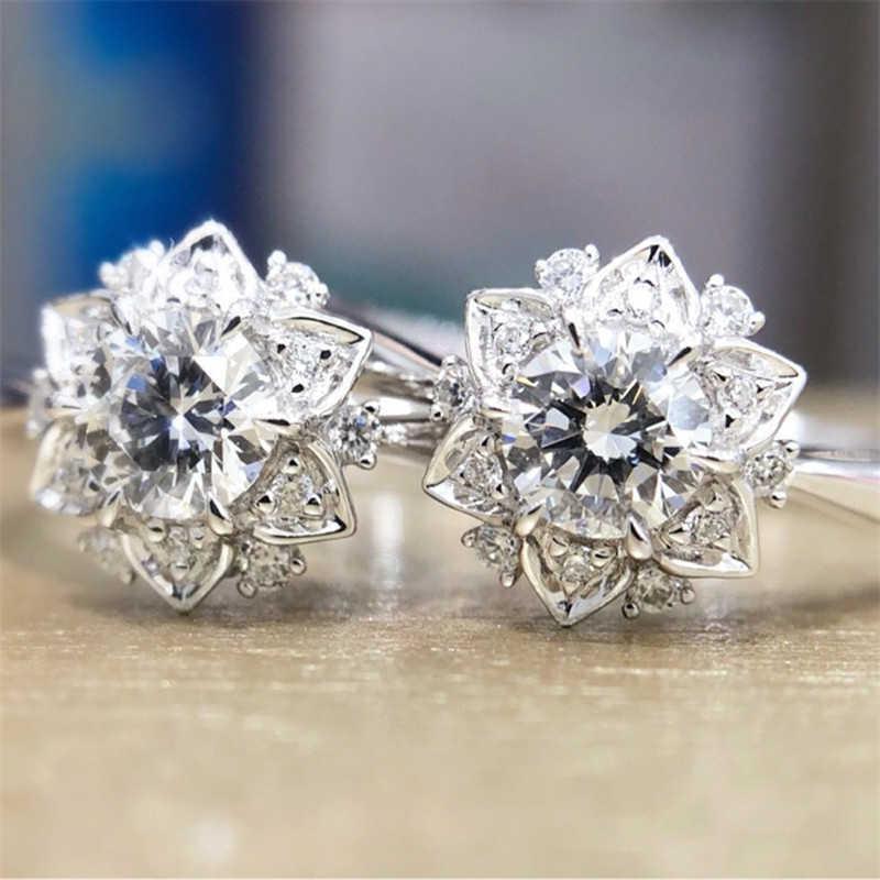 [해외]결혼 반지 쥬얼리 화이트 실버 파티 크기 6-10 여성을위한 꽃 약혼