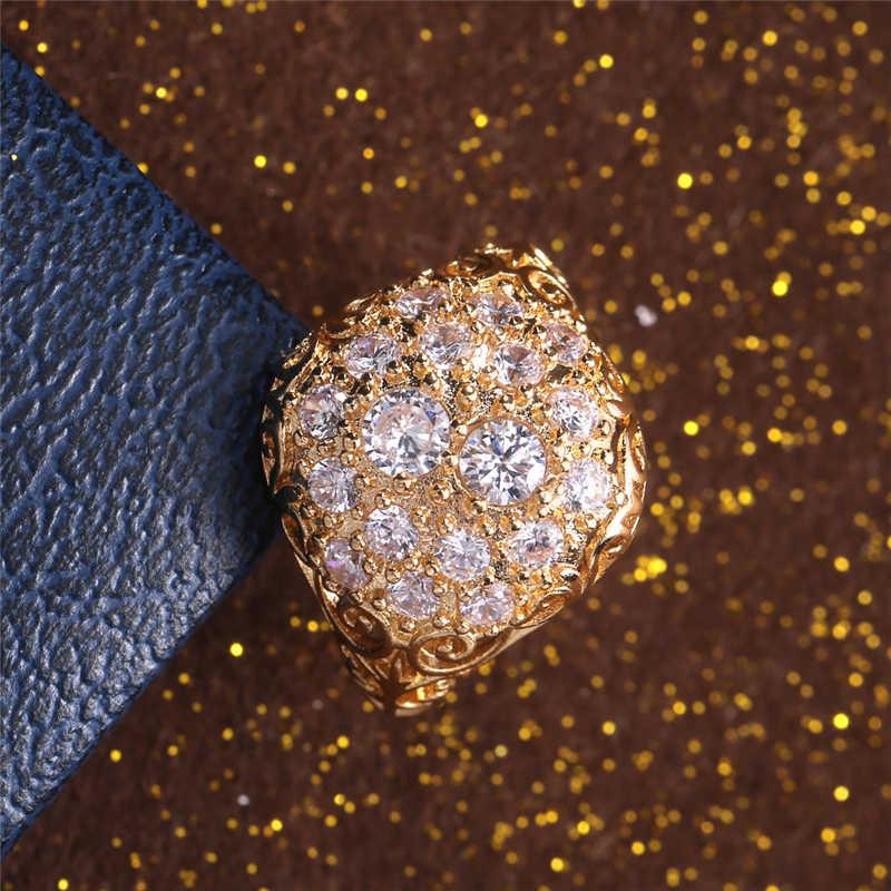 [해외]여자를위한 패션 반지 쥬얼리 크기 6-10 화이트 옐로우 골드 컬러 예쁜