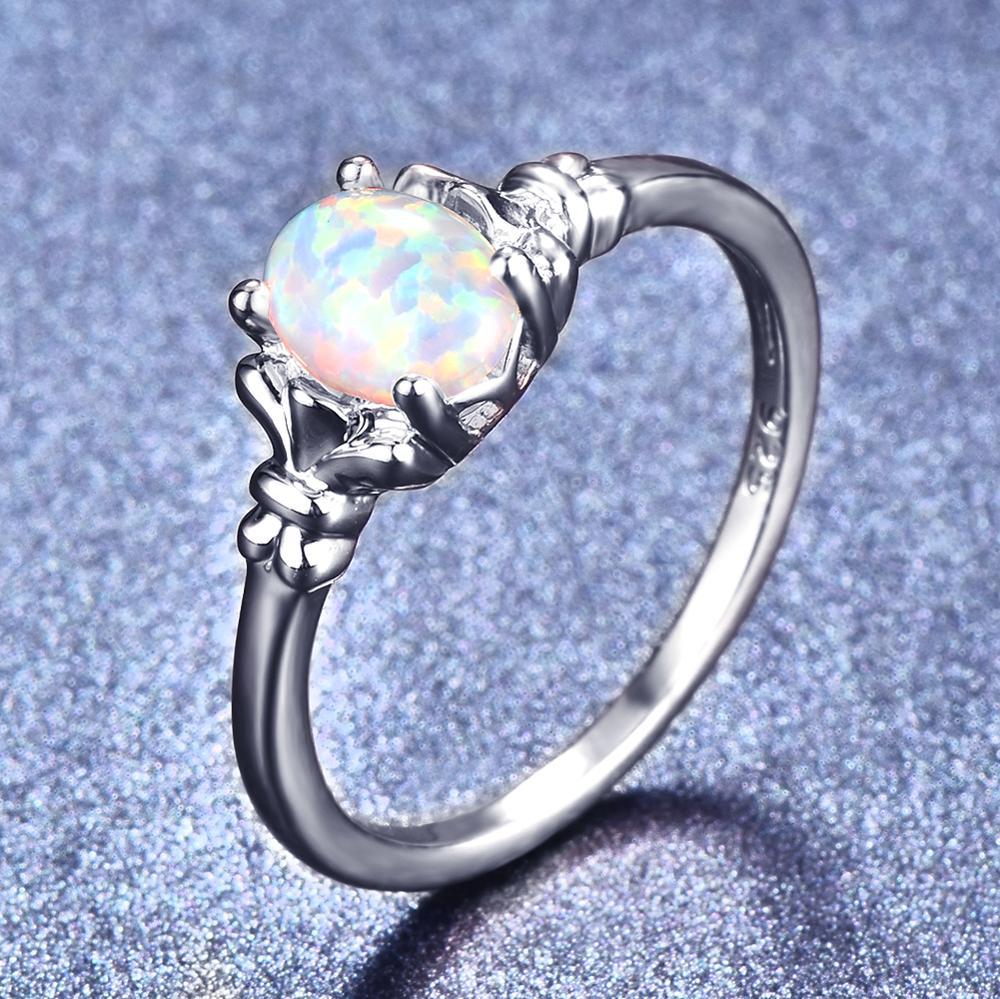 [해외]Blaike 925 Sterling Silver Filled Oval Opals Rings for Women White/Blue/Purple Fire Opal Birthstone Ring 2018 Fashion Accessory/Blaike 9