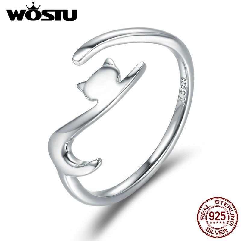 [해외]WOSTU 925 Sterling Silver Sticky CatLong Tail Finger Ring For Women Adjustable S925 Silver Ring Jewelry Gift CQR220/WOSTU 925 Sterling S