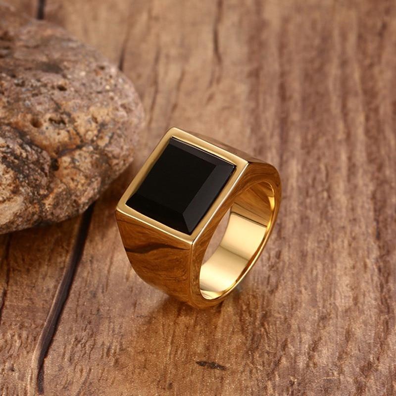 [해외]Mens Square Black Stone Signet Rings Gold Tone Stainless Steel Business Office Party Gifts for Him/Mens Square Black Stone Signet Rings