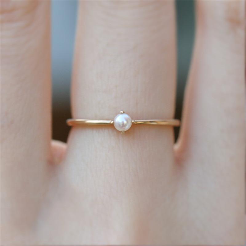 [해외]Size 5 6 7 8 9 Women Rings 2018 Fashion Mini Round Opal Gem Delicate Minimal Simple Single Stone Gold Color Ring Jewelry Gift R5/Size 5