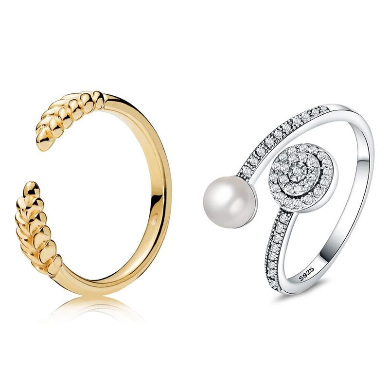 [해외]2 Style 1 Pcs Women Silver Rings Jewelry Pearl Crystal Opening Style Ring For Women Jewelry/2 Style 1 Pcs Women Silver Rings Jewelry Pea