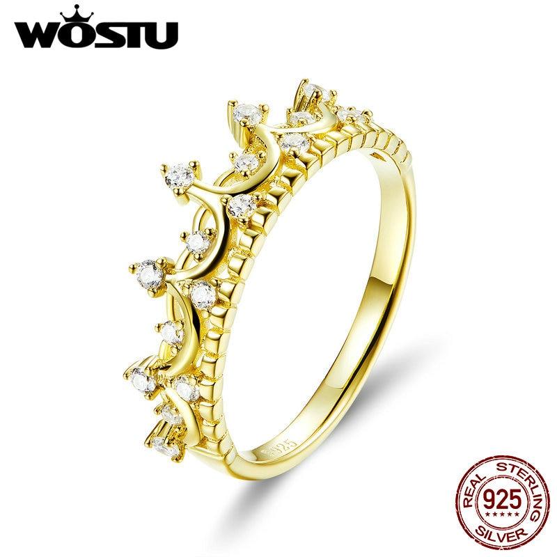 [해외]WOSTU 진짜 925 스털링 실버 골드 컬러 퀸 크라운 반지 지르콘 손가락 여성을위한 결혼 약혼 반지 925 보석 CQR493