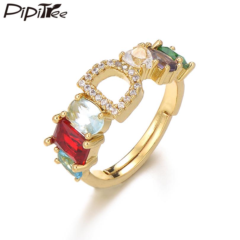 [해외]Pipitree Multi Cubic Zirconia Crystal Wedding Engagement Rings for Women Lovers Open Size CZ Letter Ring Couple Jewelry Gift/Pipitree Mu