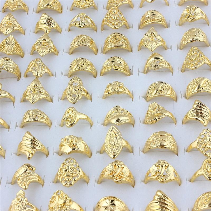 [해외]QianBei Whole 20pcs Mix Wedding Gold Color Rings Engagement Flower Ring Fashion Jewelry For Women Ring/QianBei Whole 20pcs Mix Wedding G