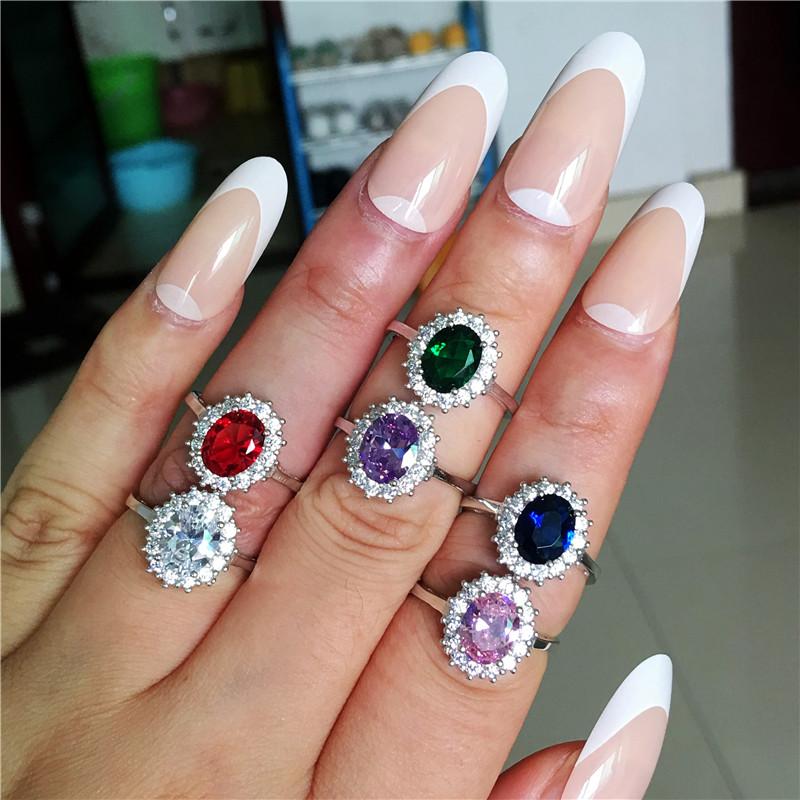 [해외]Princess Diana Ring Engagement Real 925 Sterling silver Birthstone AAAA cz Royal Wedding Band Rings For Women Bridal Accessories/Princes