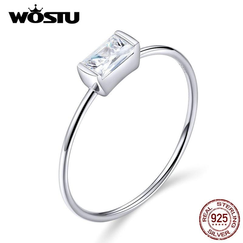 [해외]Wostu 진짜 925 스털링 실버 바게트 지르콘 결혼 반지 여성을위한 손가락 연인 패션 반지 실버 925 쥬얼리 cqr565