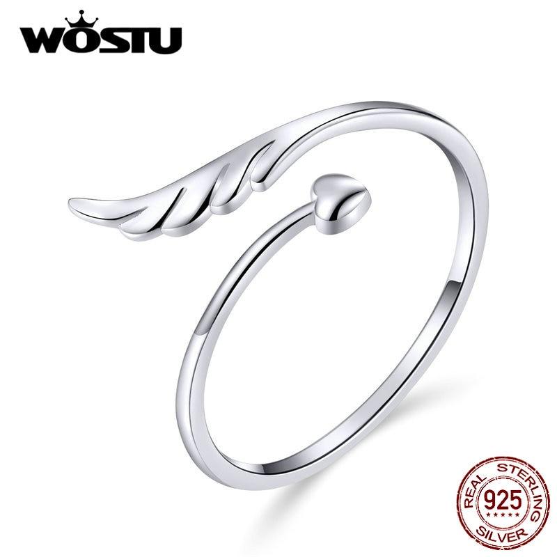[해외]WOSTU 925 스털링 실버 천사 날개 심장 반지 조정 가능한 손가락 열기 반지 여성을위한 약혼 웨딩 쥬얼리 선물 CQR567