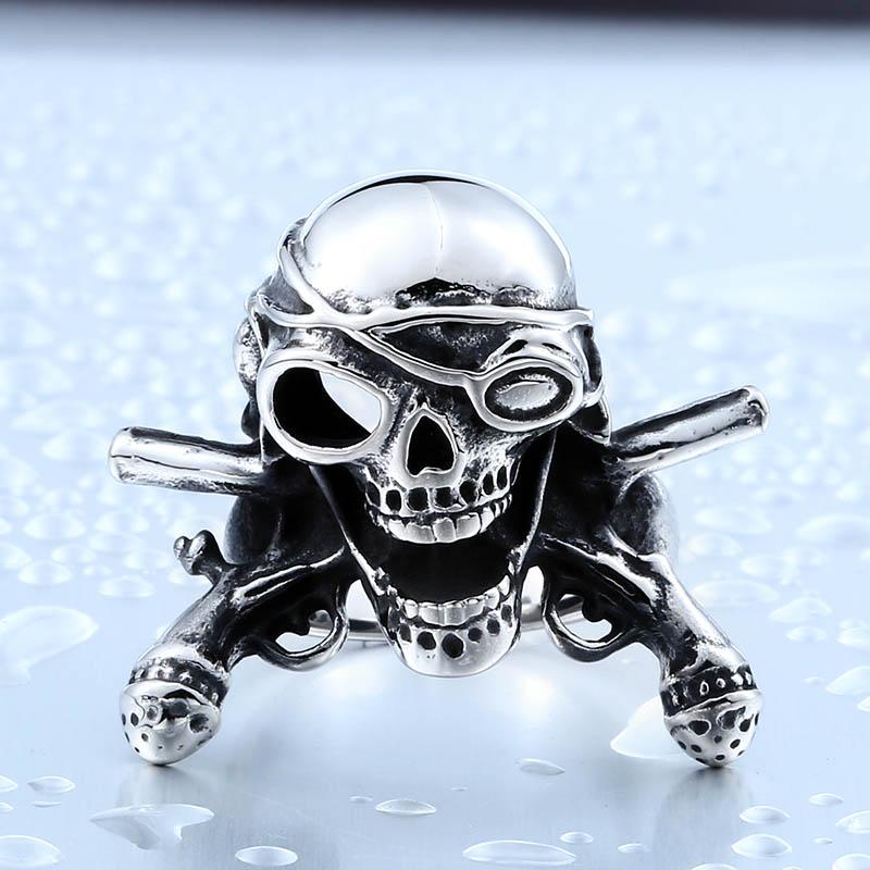 [해외]Beier Cool Biker 해적 해골 스테인레스 티타늄 스틸 남자 & s 높은 슈퍼 품질 펑크 반지 BR8-370/Beier Cool Biker Pirate Skull Stainless Titanium Steel Man&s High Super Qual