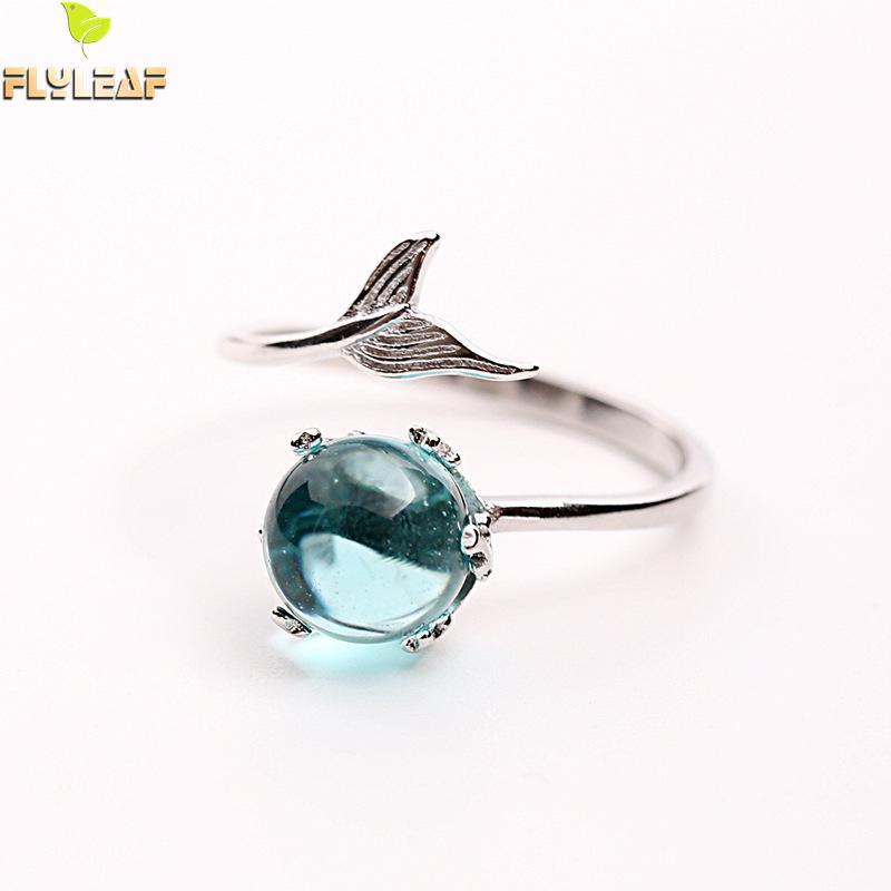 [해외]여자를Flyleaf 브랜드 백퍼센트 925 스털링 실버 블루 크리스탈 인어 버블 오픈 반지 크리 에이 티브 패션 쥬얼리/Flyleaf Brand 100% 925 Sterling Silver Blue Crystal Mermaid Bubble Open Rings F