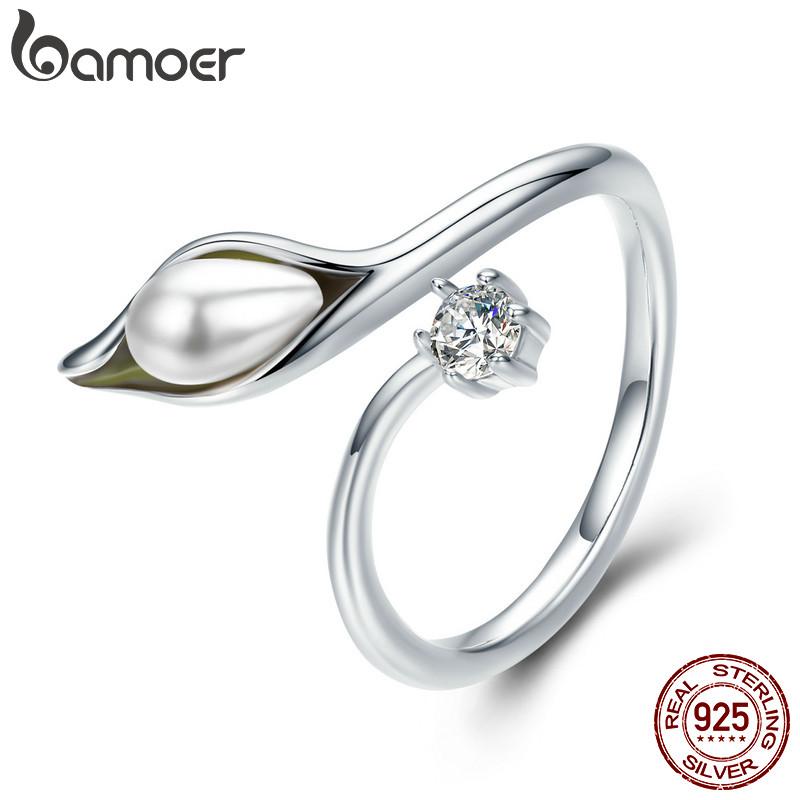 [해외]BAMOER 정통 925 스털링 실버 우아한 칼라 백합 꽃 봉오리 여성을조정 가능한 여성 반지 Engagement Jewelry SCR299/BAMOER Authentic 925 Sterling Silver Elegant calla lilies Flower Bu