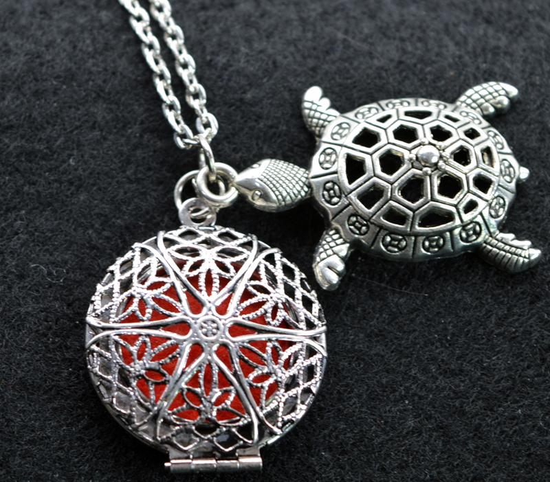 [해외]1pc 아로마 쥬얼리 에센셜 오일 디퓨저 Lockets 엄마 & s 크리스마스 선물 빈티지 거북이 목걸이/1pc Aromatherapy Jewelry Essential Oil Diffuser Lockets For Mama&s Christmas Gift V