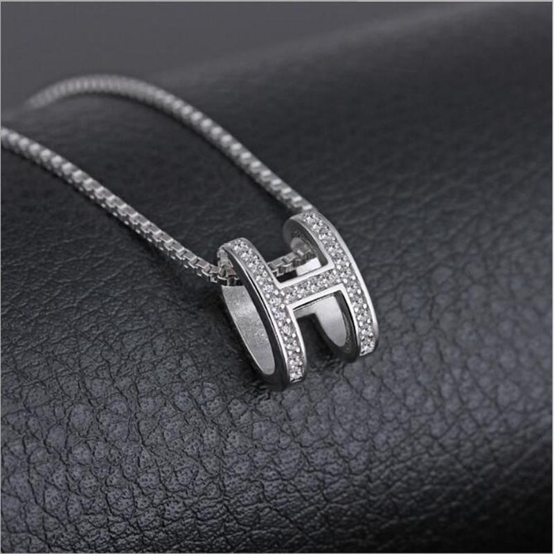 [해외]925 스털링 실버 지르콘 H 편지 목걸이 페이드하지 않는다 여성 일본 한국 쇄골 체인 간단한 쇼트 펜던트 H66/925 Sterling Silver Zircon Does Not Fade H Letter Necklace Female Japan Korea Clav