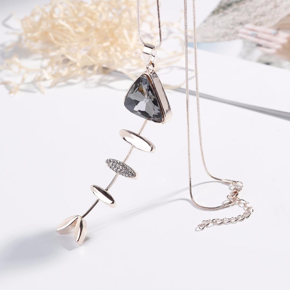 [해외]패션 여성 크리스탈 물고기 뼈 모양의 펜던트 긴 목걸이 전체 일치하는 보석 귀여운 선물/Fashion women Crystal Fish Bone shaped Pendant Long Necklace All Match Jewelry Wholesale  Cute Gi