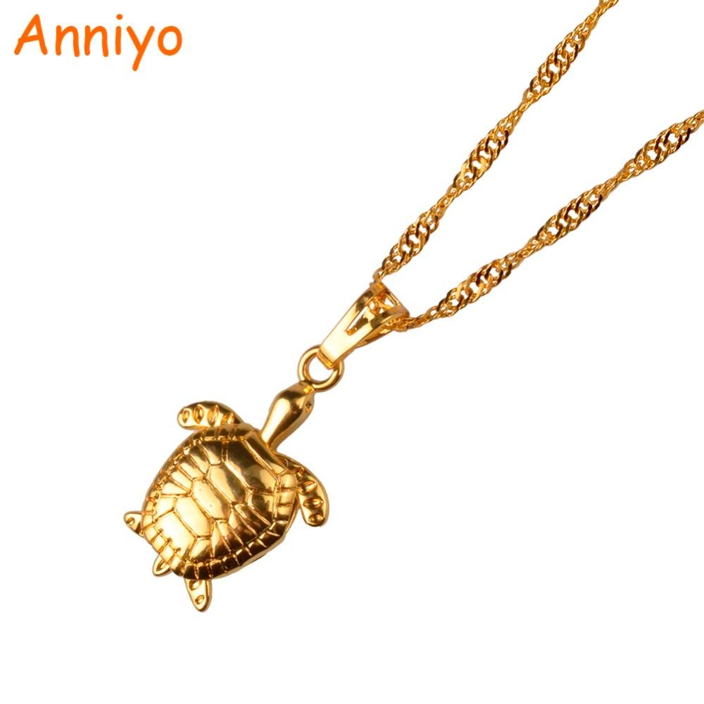 [해외]여성을Anniyo 거북이 펜던트 목걸이 골드 컬러 PNG 거북이 쥬얼리 참 선물 051904/Anniyo Tortoise Pendant Necklace for Women Gold Color PNG Turtle Jewelry Charm Gift 051904