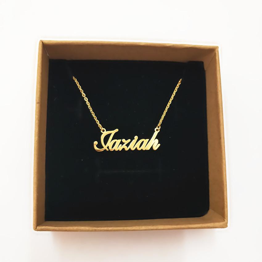 [해외]314L 스테인레스 스틸 개인 맞춤형 이름 펜던트 목걸이 맞춤식 필기체 네임 플레이트 목걸이 수제 생일 선물/314L Stainless Steel Gold Personalized Custom Name Pendant Necklace Customized Cursiv