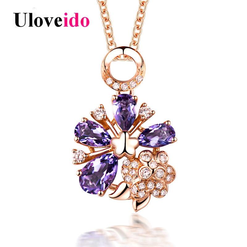 [해외]Uloveido Rose 골드 컬러 퍼플 네크리스 & amp; 펜 던 트 목걸이 여자 꽃 펜 던 트 매력 쥬얼리 발렌타인 데이 선물 DN269/Uloveido Rose Gold Color Purple Necklaces & Pendants Neckl