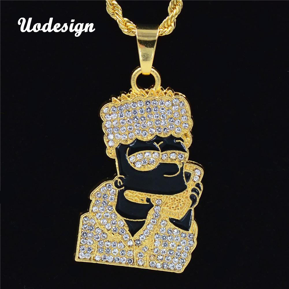 [해외]Uodesign 힙합 심슨 머리 목걸이 펜던트 남자 보석 namel 헤드 골드 컬러 목걸이 Hiphop 체인 펜던트/Uodesign Hip Hop Simpson Head Necklace Pendant Men Jewelry Wholesale namel Head G