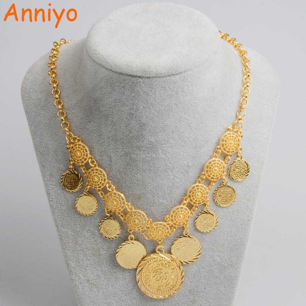 [해외]Anniyo 새로운 디자인 매력 아라비아 동전 목걸이 여성용 골드 컬러 중동 고대 동전 쥬얼리 아프리카 여자 066106/Anniyo New Design Charm Arab Coin Necklaces for Women&s Gold Color Middle East