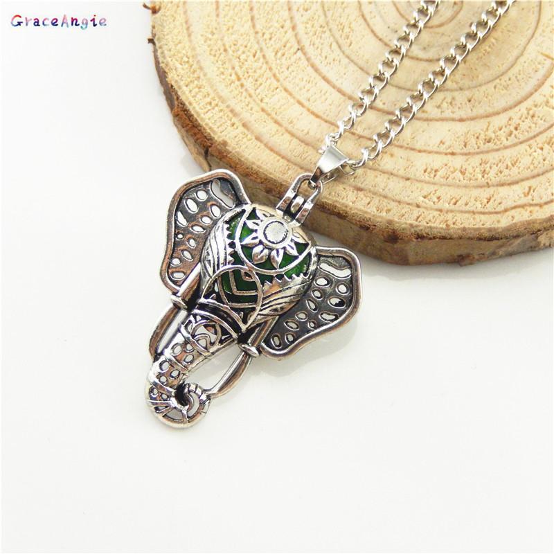 [해외]GraceAngie 골동품 청동 코끼리 스타일 케이지 로켓 체인 목걸이 에센셜 오일 실버 향수 기관총 보석 공예품 찾기/GraceAngie Antique Bronze Elephant Style Cage Locket Chain Necklace Essential O